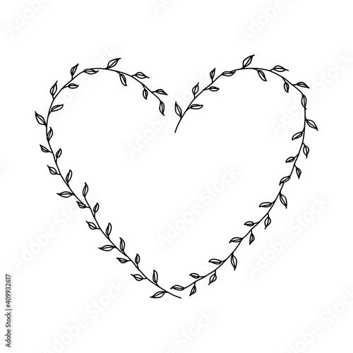 Fototapeta Hand drawn floral heart frame wreath on white background