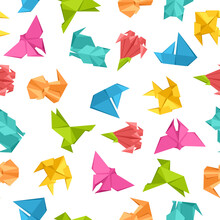 Seamless Pattern With Origami Toys.