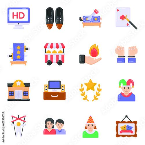 Fototapeta Flat Editable Icons of Circus