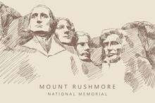 Sketch Of Mount Rushmore National Memorial, South Dakota, America, Hand-drawn.