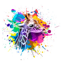 Background With Colorful Giraffe
