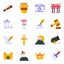 Flat Icons Of Ancient Equipment In Editable Style
