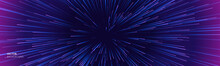 Space Speed Background, Light Warp And Galaxy Abstract Stars Explosion, Vector. Space Speed Neon Purple Blue Hyperspace Blast