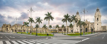 Lima, Peru: The Main Square Of Lima, With Government Palace And The Cathedral Church.