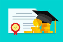 Tuition Grant Certificate, Education Study Money, Diploma Expenses Cost, Learning Success Investment, Graduation Degree Document Fee Vector Flat Cartoon Illustration, Scholarship Savings, Expensive