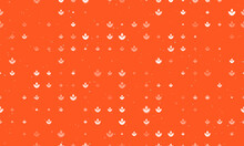 Seamless Background Pattern Of Evenly Spaced White Water Lily Symbols Of Different Sizes And Opacity. Vector Illustration On Deep Orange Background With Stars