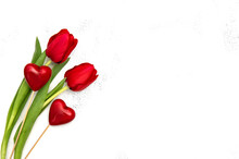 Two Hearts Red Tulip Flowers Valentines Day Template