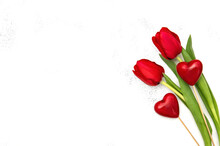 Valentines Day Background. Red Tulip Flowers Hearts