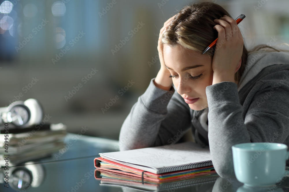 Fototapeta Concentrated student studying memorizing notes