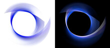 Blue Transparent Surfaces Wrap Around A Circle To Form A Frame On A White And Black Backgrounds. Graphic Design Elements Set. 3d Rendering. 3d Illustration. Sign, Icon, Symbol, Logo.