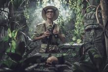 Brave Woman Exploring The Tropical Jungle