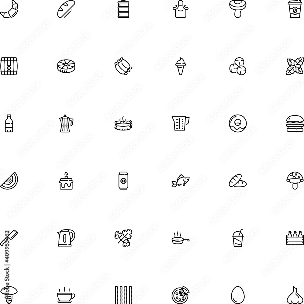 Fototapeta icon vector icon set such as: bird, garganelli, dish, hamburger, takeaway, cheeseburger, wafer, power, easter, tropical, steak, stem, agaric, fishing, donut, lamb, baguette, tonic, sharp, cask, short