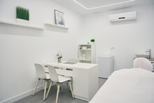 Stylish Interior Of Room Of Modern Beauty Center In White Color And Minimal Style