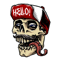 Hype Beast Skull With Snap Back Hat Vector Illustration