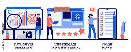 Obraz Data driven marketing, user feedback and website rating, online survey concept with tiny people. Customer behavior analysis vector illustration set. User data, marketing research tool metaphor - fototapety do salonu