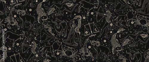 Fényképezés Seamless pattern - signs of the zodiac