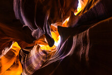 Low Angle Of Breathtaking Scenery Of Antelope Canyon With Uneven Curved Surface In Arizona