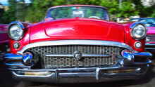 Front View Of An Old Classic American Car. Havana, Cuba
