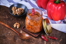 Vegan Walnut And Red Pepper Hummus In Crystal Jar