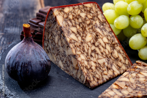 Canvas Print Cheese collection, Irish brown waxed marbeled cheddar cheese flavoured with Guin