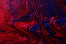 Horizontal Shimmer Blue And Red Abstract Background. Make Up Concept.Beautiful Stains Of Liquid Nail Laquers.Fluid Art,pour Painting Technique.Good For Placing Text Or Logo.