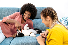 Happy Multiracial Female Couple With Cute Little Dog Enjoying Free Time Together On Cozy Sofa In Living Room At Home