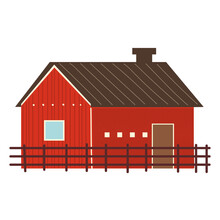 Farm And Agriculture Wooden Barn And Fence