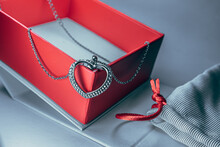 Silver Heart On A Chain With Red  Gift Box And White Bag Gift With A Red String, Gift For Valentine's Day, Marriage, Engagement.