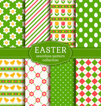 Easter Backgrounds Set. Collection Of Seamless Patterns. Vector.