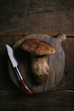 From Above Composition Of Raw Whole Porcini Or Cep Mushrooms With Knife And Cutting Board On Wooden Rustic Table