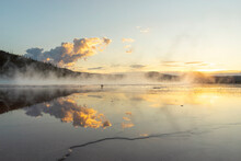 Sunset At Grand Prismatic Spring In Yellowstone National Park