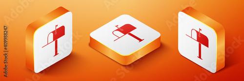 Fototapeta Isometric Open mail box icon isolated on orange background