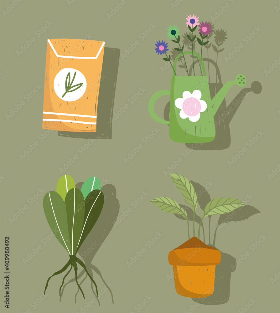 Fototapeta gardening icon set watering can plants and pack seeds hand drawn color
