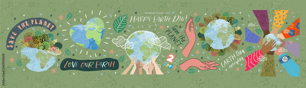 Fototapeta Happy Earth Day! Vector eco illustrations for social poster, banner or card on the theme of saving the planet, human hands protect our earth. Make an everyday earth day