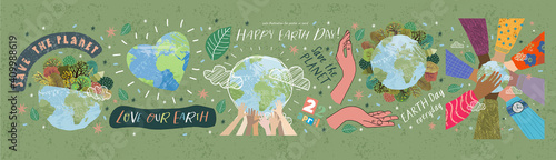 Fotografie, Obraz Happy Earth Day! Vector eco illustrations for social poster, banner or card on the theme of saving the planet, human hands protect our earth