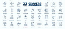 Simple Set Of Success, Goals And Target Related Vector Line Icons. Contains Thin Icons As Achievement, Aim, Motivation And More. Editable Stroke. 48x48 Pixel Perfect