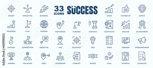 Photographie Simple Set of Success, Goals and Target Related Vector Line Icons