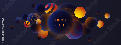 Fototapeta Banner with realistic blue balls, blured and luminous, luminescent orange balls with patterns, dots and stripes with soft touch feeling in dark background. Vector illustration.  obraz