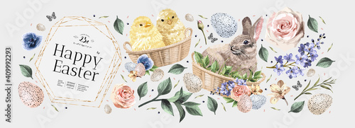 Fototapeta Happy Easter! Vector illustrations of watercolor cute bunny, chick, flowers, plants and greeting frame