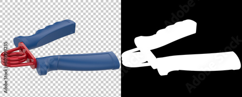 Fotografie, Obraz Hand grip gym equipment with side view, isolated on background with mask