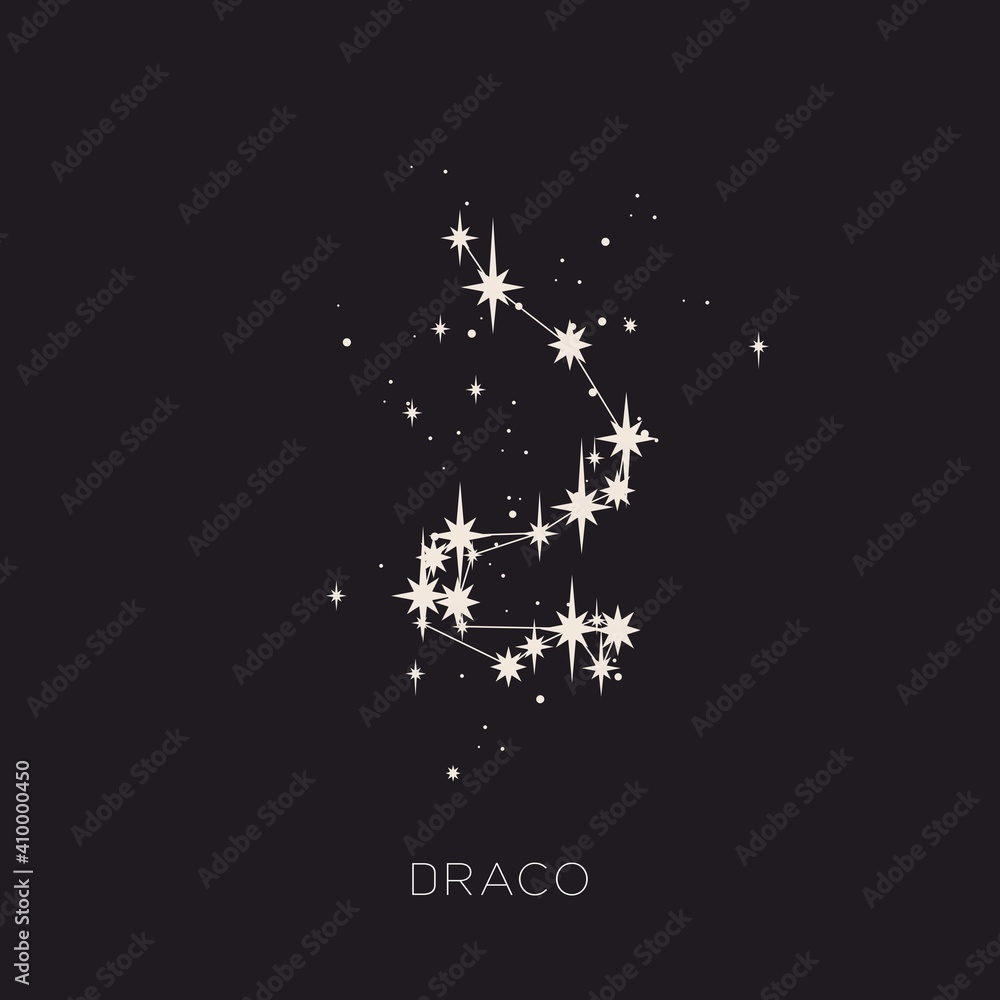 Fototapeta Star constellation space zodiac draco vector