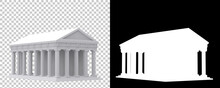 Greek Temple Isolated On Background With Mask. 3d Rendering - Illustration