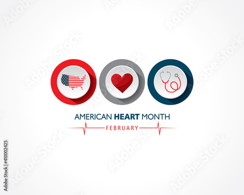 Valokuva Vector illustration of National American Heart Month observed in February
