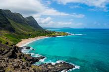 Rocky Shoreline And Pocket Beach At Makapuʻu Point, Western End Of Oahu, Hawaii