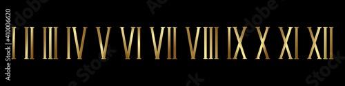 Fotografia Gold roman numerals black background set