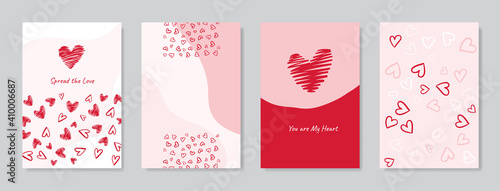 Obraz Valentine's day concept posters set. Vector illustration. Flat red and pink paper hearts with frame on geometric background. Cute love sale banners or greeting cards  - fototapety do salonu