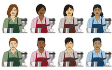 Diversity, Race, Ethnicity Of Barista Server Vector Icons, Male And Female, Wearing Apron, With Coffee Cups And Espresso Maker Isolated On A White Background