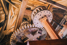 Radars And Rotating Parts Of A Traditional Wooden Windmill For Grinding Grain And Flour