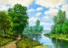 Artwork, Oil Paintings Landscape, Fine Art, Landscape With Lake And Trees