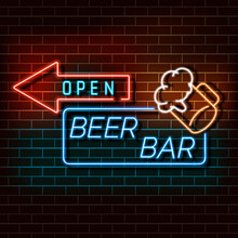 Beer Bar Neon Light Banner On A Brick Wall. Blue And Orange Sign. Decorative Realistic Retro Element For Web Design